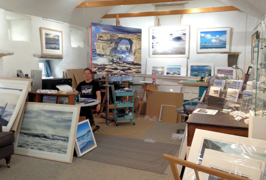 image of inside Andrew Giddens Open Studio Gallery Perranuthnoe