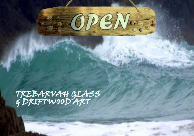 image of trebarvah glas and driftwood art sign perranuthnoe