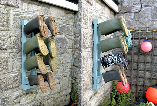Image of welly boot racks on wall in perranuthnoe